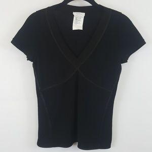 Max Mara black v-neck short sleeve top size medium